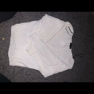 Forever 21 white chenille sweater